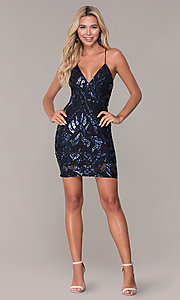 Image of short navy blue v-neck holiday dress by Simply. Style: MCR-SD-2517 Detail Image 3
