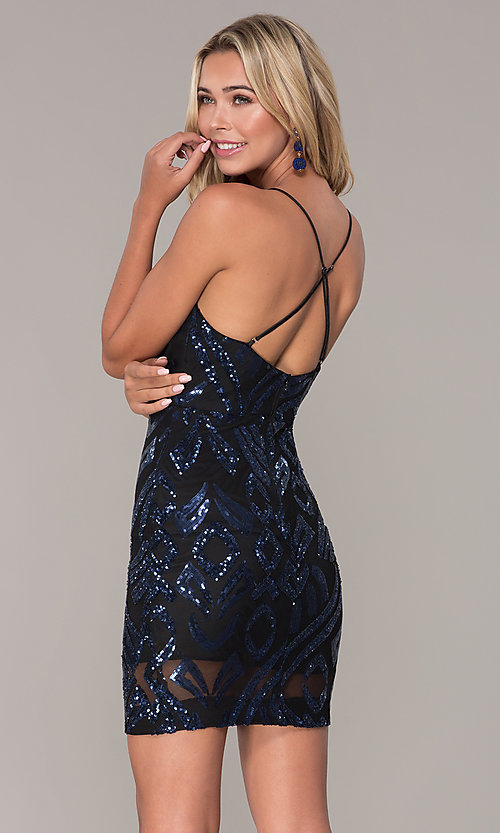 Image of short navy blue v-neck holiday dress by Simply. Style: MCR-SD-2517 Back Image
