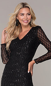 Image of sleeved short black sequin holiday dress by Simply. Style: MCR-SD-2519 Detail Image 1