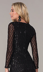 Image of sleeved short black sequin holiday dress by Simply. Style: MCR-SD-2519 Detail Image 2