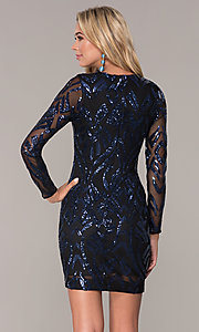 Image of short navy blue long-sleeve holiday dress by Simply. Style: MCR-SD-2526 Back Image