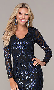 Image of short navy blue long-sleeve holiday dress by Simply. Style: MCR-SD-2526 Detail Image 1