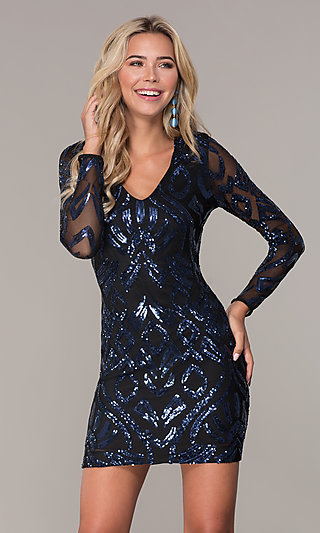 a763febcdc6b Short Navy Blue Long-Sleeve Holiday Dress by Simply