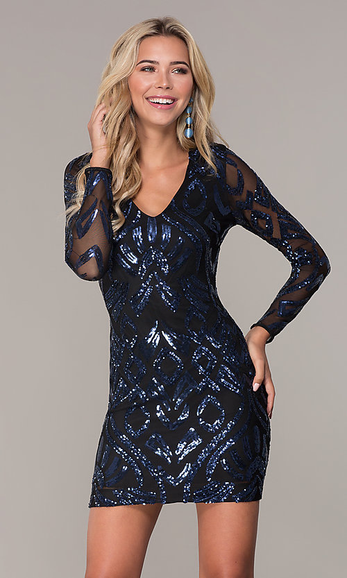 Image of short navy blue long-sleeve holiday dress by Simply. Style: MCR-SD-2526 Front Image