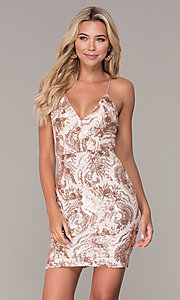 Image of short v-neck rose gold holiday dress by Simply. Style: MCR-SD-2528 Front Image