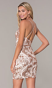 Image of short v-neck rose gold holiday dress by Simply. Style: MCR-SD-2528 Back Image