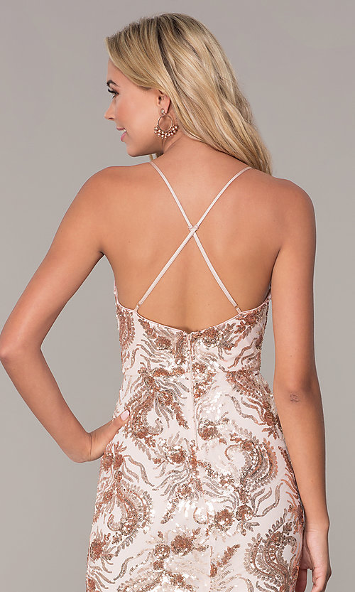 Image of short v-neck rose gold holiday dress by Simply. Style: MCR-SD-2528 Detail Image 2