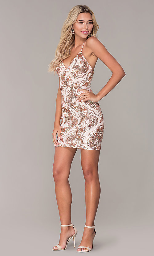 Image of short v-neck rose gold holiday dress by Simply. Style: MCR-SD-2528 Detail Image 3