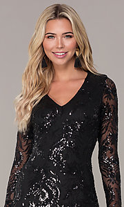 Image of short black long-sleeve holiday dress by Simply. Style: MCR-SD-2547B Detail Image 1