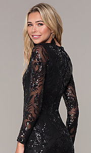 Image of short black long-sleeve holiday dress by Simply. Style: MCR-SD-2547B Detail Image 2