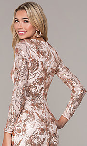 Image of rose gold v-neck short holiday dress by Simply. Style: MCR-SD-2547RG Detail Image 2