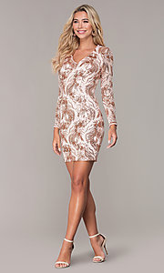 Image of rose gold v-neck short holiday dress by Simply. Style: MCR-SD-2547RG Detail Image 3