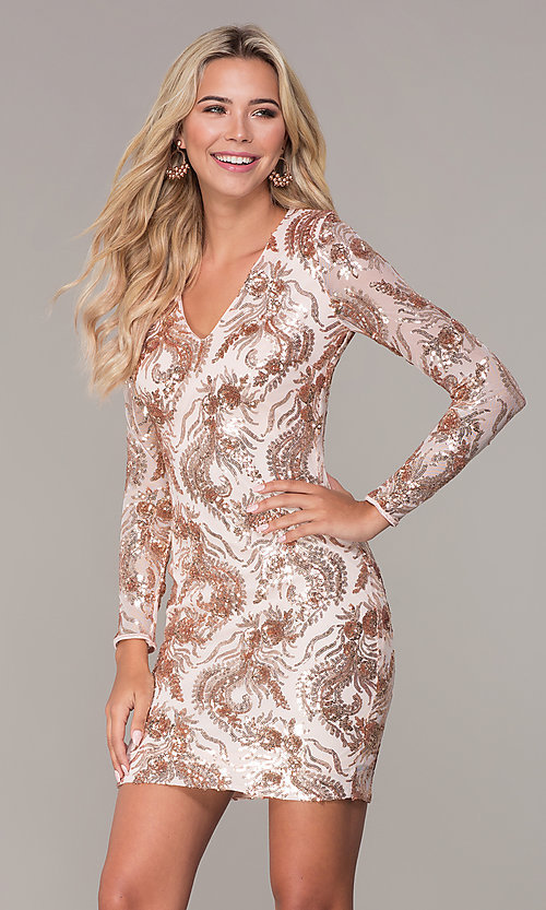 Image of rose gold v-neck short holiday dress by Simply. Style: MCR-SD-2547RG Front Image