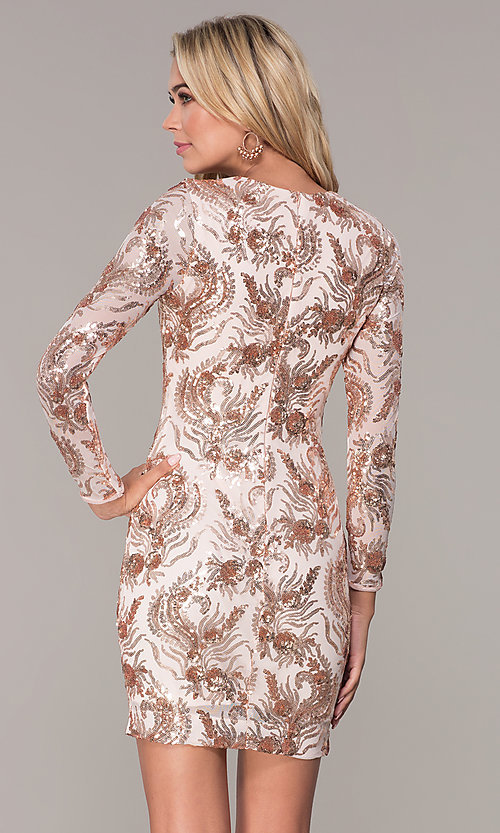 Image of rose gold v-neck short holiday dress by Simply. Style: MCR-SD-2547RG Back Image