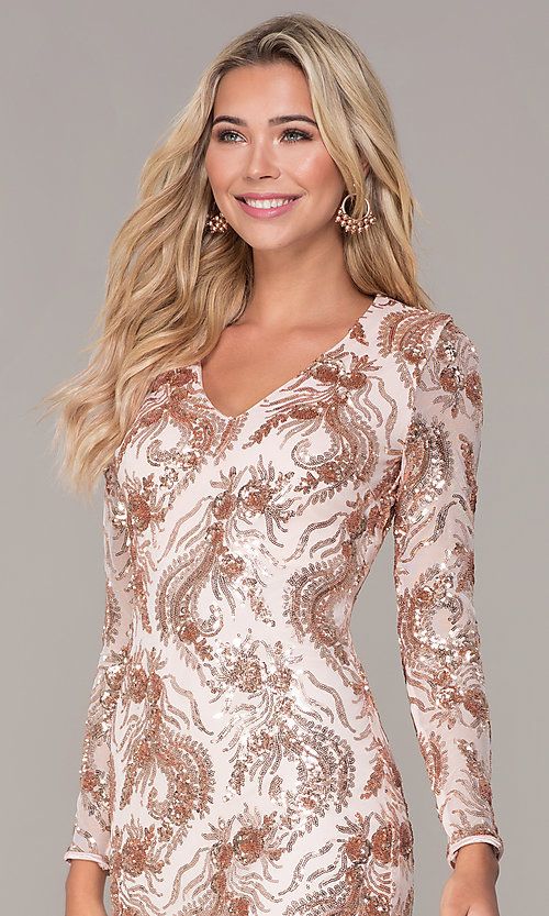 Image of rose gold v-neck short holiday dress by Simply. Style: MCR-SD-2547RG Detail Image 1