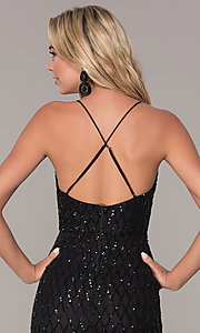 Image of short v-neck black sequin holiday dress by Simply. Style: MCR-SD-2545B Detail Image 2