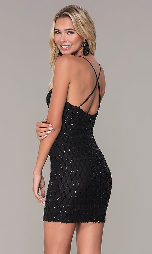 Image of short v-neck black sequin holiday dress by Simply. Style: MCR-SD-2545B Back Image