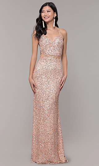 Long Sequin-Mesh Formal Sweetheart Dress by PromGirl