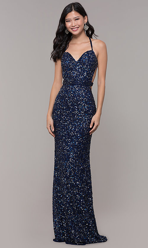 Image of long sequin-mesh formal sweetheart dress by PromGirl. Style: PV-PL-124 Detail Image 4