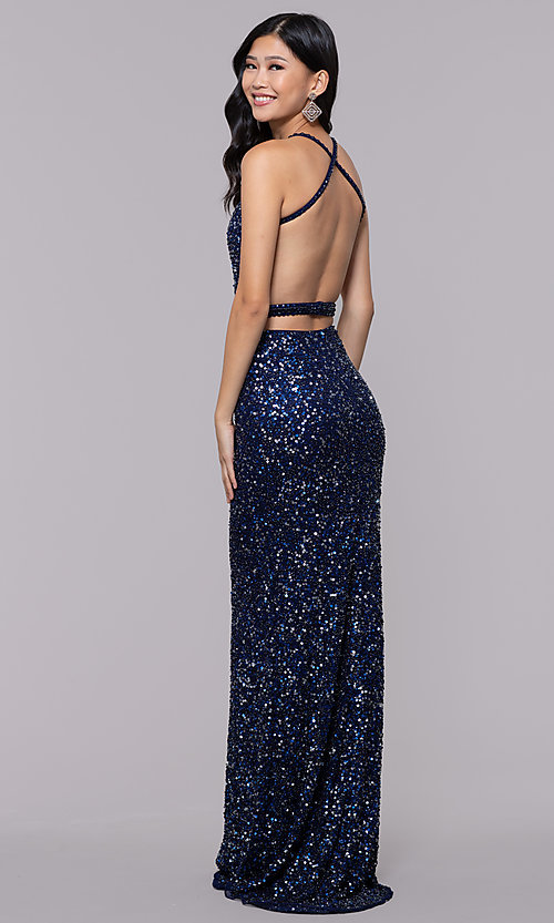Image of long sequin-mesh formal sweetheart dress by PromGirl. Style: PV-PL-124 Detail Image 5
