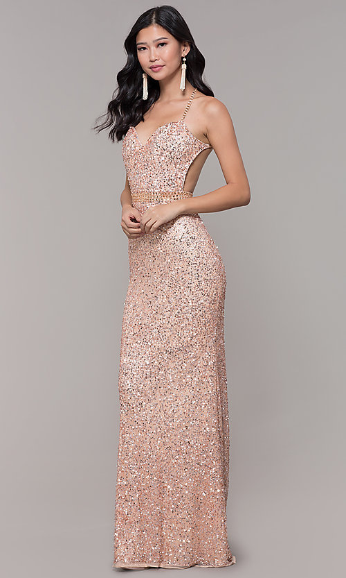Image of long sequin-mesh formal sweetheart dress by PromGirl. Style: PV-PL-124 Detail Image 3