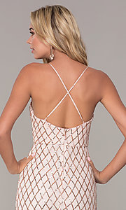 Image of short rose gold sequined holiday dress by Simply. Style: MCR-SD-2545RG Detail Image 2