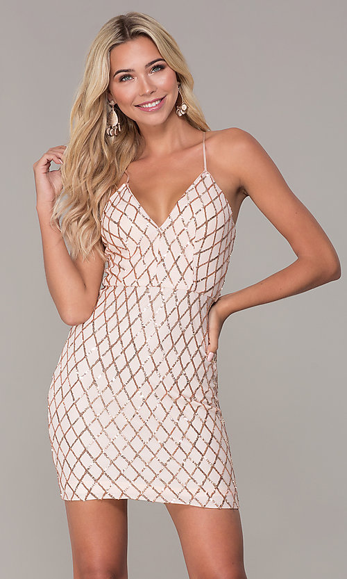 Image of short rose gold sequined holiday dress by Simply. Style: MCR-SD-2545RG Front Image