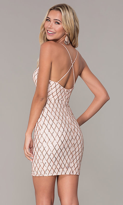 Image of short rose gold sequined holiday dress by Simply. Style: MCR-SD-2545RG Back Image