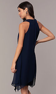 Image of beaded-collar short shift wedding-guest dress by Simply. Style: MCR-SD-2675 Back Image