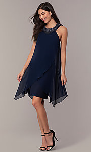 Image of beaded-collar short shift wedding-guest dress by Simply. Style: MCR-SD-2675 Detail Image 3