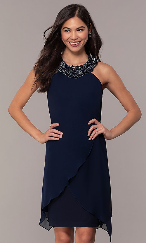 Image of beaded-collar short shift wedding-guest dress by Simply. Style: MCR-SD-2675 Front Image