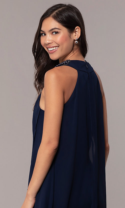 Image of beaded-collar short shift wedding-guest dress by Simply. Style: MCR-SD-2675 Detail Image 2