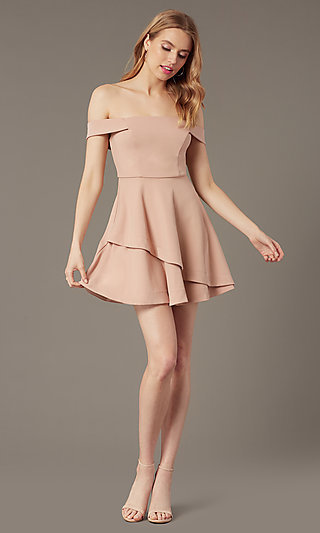 Rose Pink Off-the-Shoulder Grad Party Short Dress