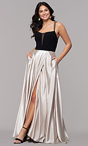 Image of black and gold square-neck long faux-wrap prom dress. Style: BN-1068BN Detail Image 3