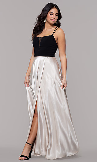 Black and Gold Square-Neck Long Faux-Wrap Prom Dress