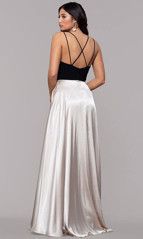 Image of black and gold square-neck long faux-wrap prom dress. Style: BN-1068BN Back Image