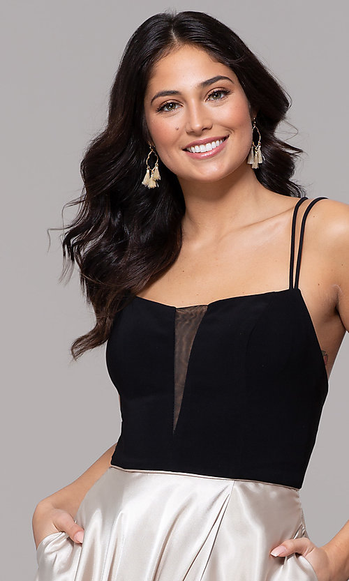 Image of black and gold square-neck long faux-wrap prom dress. Style: BN-1068BN Detail Image 1