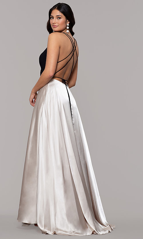 Image of long illusion open-back faux-wrap prom dress. Style: BN-1071BN Front Image
