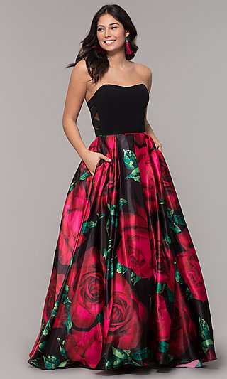 Long Black Floral-Print Strapless Prom Dress
