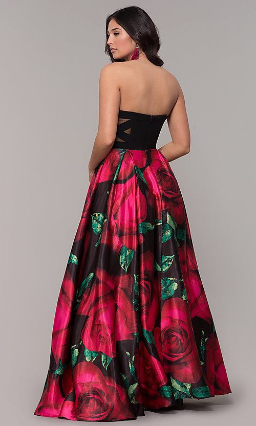 Image of long black floral-print strapless prom dress. Style: BN-1191BN Back Image