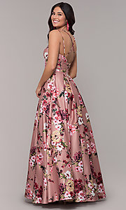 Image of floral-print long pink square-neck prom dress. Style: BN-1216BN Back Image