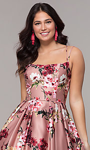 Image of floral-print long pink square-neck prom dress. Style: BN-1216BN Detail Image 1