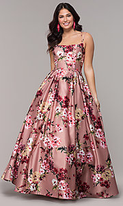 Image of floral-print long pink square-neck prom dress. Style: BN-1216BN Detail Image 3