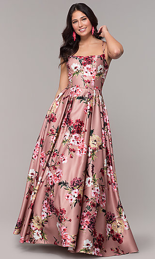 485bbc3142 Floral-Print Long Pink Square-Neck Prom Dress