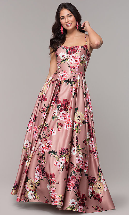 7770e0a1d9c Image of floral-print long pink square-neck prom dress. Style  BN