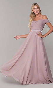 Image of long mauve off-the-shoulder prom dress by PromGirl. Style: FB-PL-GL9002 Front Image