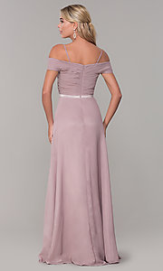 Image of long mauve off-the-shoulder prom dress by PromGirl. Style: FB-PL-GL9002 Back Image