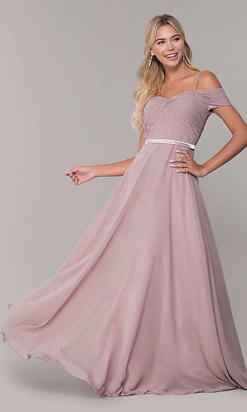604bbd804219 Image of long mauve off-the-shoulder prom dress by PromGirl. Style