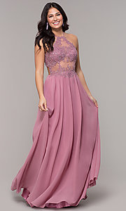 Image of rose high-neck embroidered-bodice long prom dress. Style: BN-169BN1 Detail Image 3