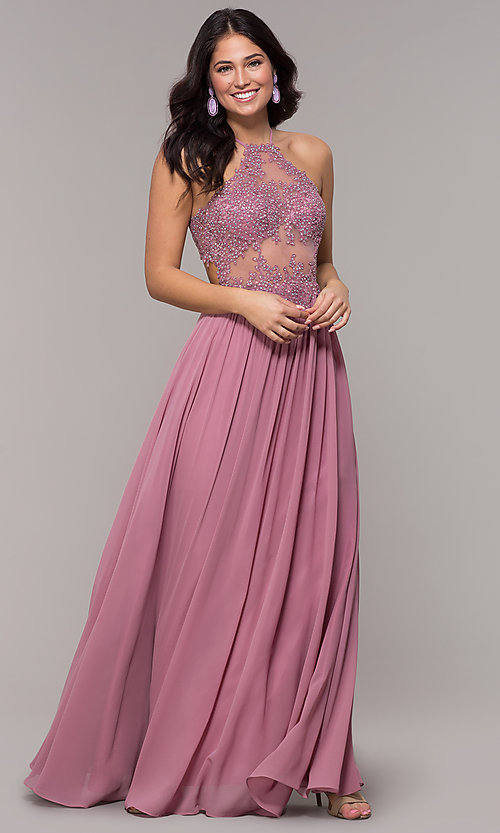 Image of rose high-neck embroidered-bodice long prom dress. Style: BN-169BN1 Front Image